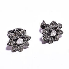 "Rose Cut Diamond Pave Victorian Jewelry 925 Sterling Silver Stud Earrings 0.5"""