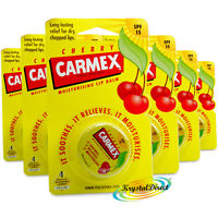 6x Carmex Moisturising Cherry Lip Balm Pot SPF15 Dry Chapped Cracked Lips 7.5g