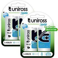4 x Uniross D Size 2600 mAh Rechargeable Batteries LR20, HR20, MN1300, MONO