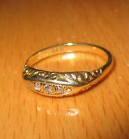 ANTIQUE VICTORIAN 18ct / 9ct YELLOW GOLD 5 STONE DIAMONDS BAND RING SIZE L