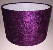 Handmade Lampshade in a Crushed Velvet effect fabric Purple / Grape 25cm