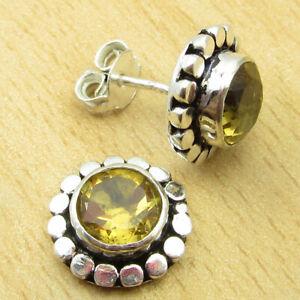 "November Birthstone Citrine GEMSTONE Earrings 0.5"" Silver Plated Jewellery NEW"
