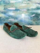 BOTTEGA VENETA Men's Loafers Green Suede Intrecciato Slip On Brown Leather SZ 45