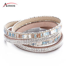 New Women Colorful Crystal Multi-layer Leather Bangle Wrap Cuff Bracelet Jewelry