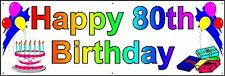 HAPPY 80th BIRTHDAY BANNER 2FT X 6FT NEW LARGER SIZE