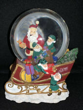 Santa with Elves Loading Sleigh Musical Snow Globe Christmas Holiday Snow-globe
