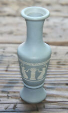 "Vintage Wedgewood Like Style Blue Bud Vase 6"" Tall Greek Flower Vase Baby Blue"