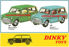 Dinky Toys 197 199 Mini Traveller Countryman Large Poster Advert Leaflet Sign