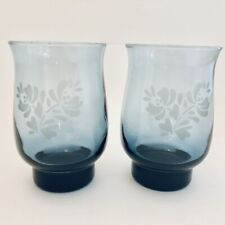 2 Vintage Pfaltzgraff Yorktown Blue Wine Glasses Tumblers Tulip Drinking Glass