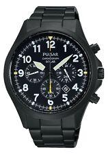 Pulsar Gents Solar Chronograph Black Dial Bracelet Watch PX5003X1