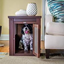 Dog Kennel End Table Crate Chew Resistant Steel Spindles Wood Frame Small Dogs