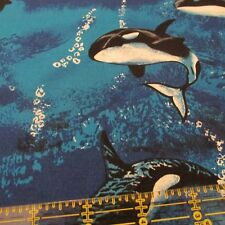 Shamash & Sons cotton fabric Killer Whale Orca ocean aquatic life Bthy half yard