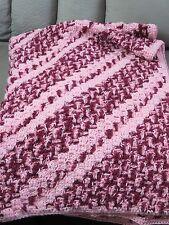 New! Handmade Crochet Blanket Throw Afghan - 41x57 - Pink, Pink shades multi