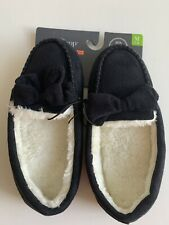 Womens Slippers Memory Foam White Fur 5/6 West Loop Moccasins Shoes New