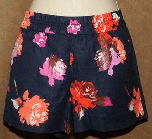 J Crew - Navy & Colorful Floral Print - Linen Cotton Blend Summer SHORTS sz 4