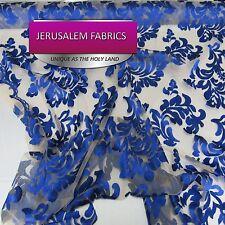Wonderful Italian Design bridal wedding lace royal blue. Sold by the yard.