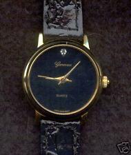GENEVEX Womens Gold Tone Watch Blk Patent Leather Band & Diamond $125+ Val! NIB
