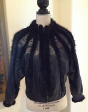 BALENCIAGA Black Mink & Leather Jacket Coat Unique High End Design Sz M Italy!!!