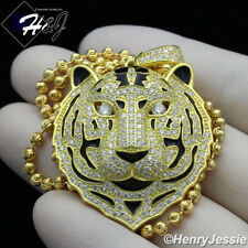 "925 STERLING SILVER 20""24""30""X3MM GOLD/SILVER MOON BEAD CHAIN TIGER PENDANT*P182"