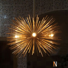 Mid century 5 Bulbs Gold Brass Sphere Urchin Chandelier Sputnik Light Fixture