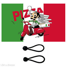 Pizza Delivery Flag 5x3 ft. COMES With FREE BALL TIES.Camping,Caravan, Festival