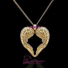Solid 18k Yellow Gold GF Angel Wings Necklace Pendant Women Girl Cyrstal Diamond