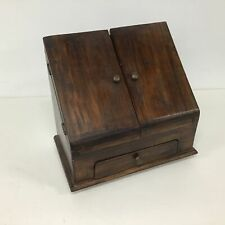 Vintage Wooden Letter Holder With Open Lid And Drawer #454