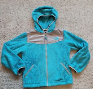 The North Face Oso Zip Up Hooded Jacket Fleece Blue Girls Size Small 7/8