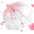 Fashion Women's Transparent Clear Cherry Blossom Handle Arch Rain umbrella