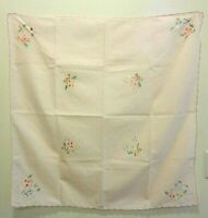 "Vtg Hand Embroidered 33"" Sq Tablecloth 6 Napkin Set Pink Floral In Original Box"