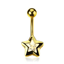 Star CZ Gold Plated Surgical Steel Belly Bar / Navel Ring