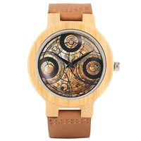 Fashion Dr. Who Wooden Quartz Wrist Watch Genuine Leather Band Men Boy Gift