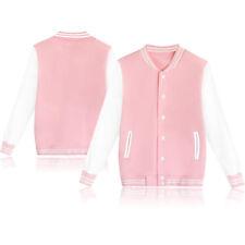 Fashion Women Girl Plain Varsity Baseball Jacket Coat College Casual Sports Tops