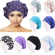 Unisex Women Men Hat Adjustable Floral Printed Bouffant Cap Hair Cover Worked
