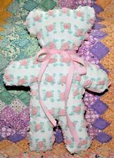 Stuffed Teddy Bear From Vintage Morgan Jones Pink Rosebud Chenille Bedspread