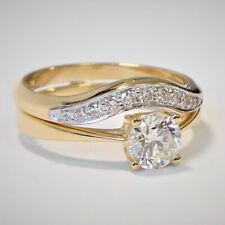 Real 14k Yellow Gold 2 Ct Round Cut Diamond Engagement Ring Bridal Set