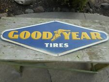 VINTAGE RARE TIN EMBOSSED 4' GOODYEAR TIRES Advertising ORIGINAL SIGN - RARE