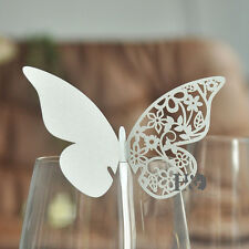 12 Ivory Butterfly Wedding Name Place Cards Wine Glass Laser Cut On Pearlescent