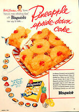 Vtg 1954 Betty Crocker Bisquick Pineapple cake advertisement print ad art