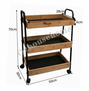 3 Tier Kitchen Storage Trolley Bamboo Tray&Metal Frame with 4 wheels (2 locked)