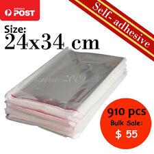 910Pcs New Self-Adhesive Cellophane Clear Resealable Plastic Bag 24x34cm A4 Bulk