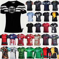 Mens Superhero Short Sleeve Compression Summer Basic T-shirt Fintess Jersey Tops