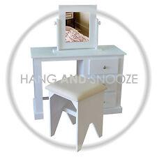 HANDMADE DEWSBURY 3 DRAWER DRESSING TABLE SET WHITE SILVER HANDLES (ASSEMBLED)