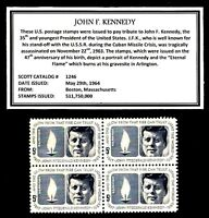 1964 - JOHN F. KENNEDY - #1246 Mint -MNH- Block of Four Postage Stamps