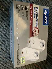 ZyXEL 600 Mbps Mini Powerline AV2 Gigabit Adapter AC Pass Through 2 units