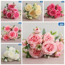 15 Heads Silk Peony Artificial Flowers Peony Wedding Bouquet Home Decor rink_