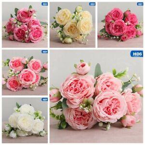 15 Heads Silk Peony Artificial Flowers Peony Wedding Bouquet Home OiRrE sen13