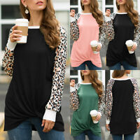 Womens Leopard Long Raglan Sleeve T Shirt Twist Knot Blouse Tops Tunic Casual