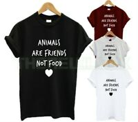 ANIMALS ARE FRIENDS NOT FOOD T SHIRT FRUIT VEGAN VEGETARIAN ANIMAL LOVER FASHION