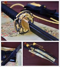 HAND FORGED JAPANESE SWORD DAMASCUS KATANA BLACK FOLDED STEEL FULL TANG SHARP
